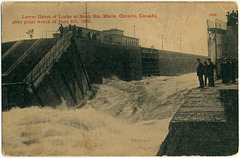 7785. Lower Gates of Locks at Sault Ste. Marie, Ontario, Canada, after great wreck of June 9th, 1909.