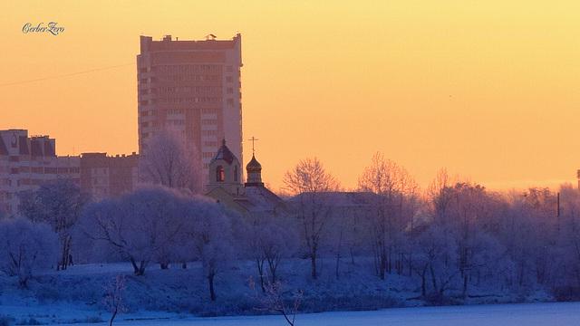 зимнее, морозное утро