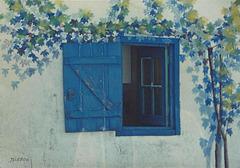 Petite fenêtre bleue et trompe-l'oeil.