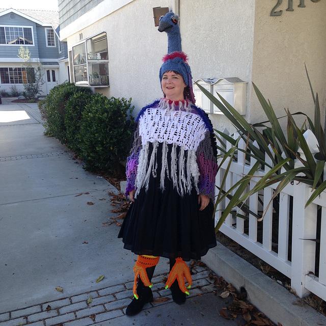 Giant crocheted bird costume