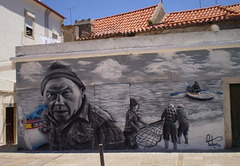 Mural of fishermen.