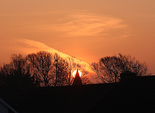 Sunrise behind Saint Peter's East Blatchington, Sussex - 22.3.2016