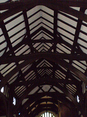 Timber beams on the ceiling.