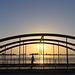 Backlit footbridge