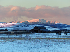 Sunrise colour over the mountain peaks