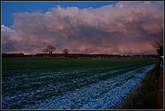 Stormy sky, winter sunset, North Yorkshire