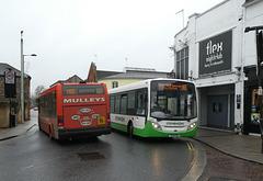 Mulleys CN56 FDU and Stephenson's 442 (YX10 FEH) in Bury St. Edmunds - 23 Nov 2019 (P1050917)