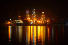 Floodlit drill ships in DSME