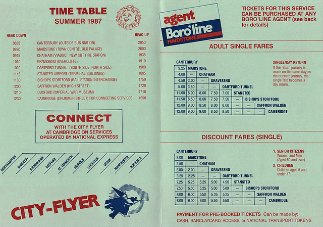 Boro'line Maidstone Canterbury-Cambridge timetable leaflet -Summer 1987  (Page 2 of 2)