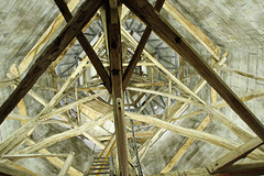Salisbury cathedral spire - looking upwards into the interior and the complex medieval timber structure.