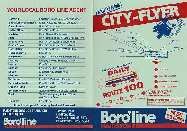 Boro'line Maidstone Canterbury-Cambridge timetable leaflet -Summer 1987  (Page 1 of 2)
