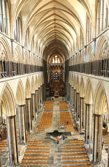 Salisbury cathedral nave - a view from the ledge in front of the west window.