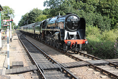 B.R. standard class 9F 92203 BLACK PRINCE arriving at Holt North Norfolk Railway with 1M08 10:33 from Sheringham 3rd September 2017