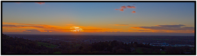 Sun sets over Macclesfield