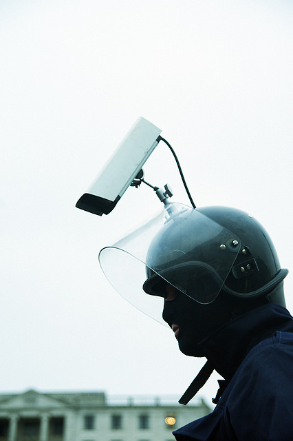 CCTV Cop, Mass Photo Gathering, Trafalgar Square, London, 23 January 2010