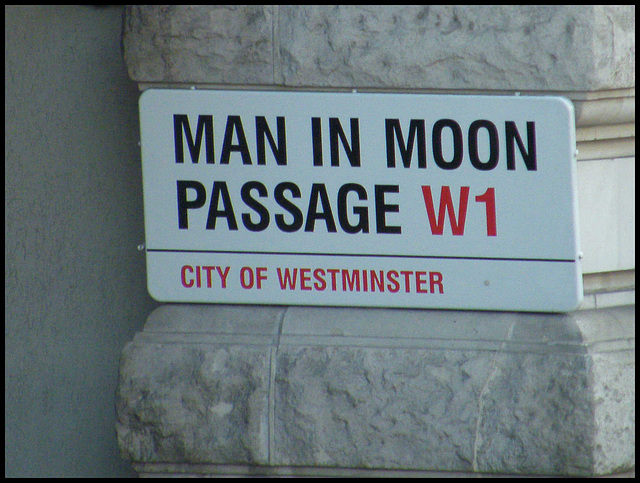 Man in Moon Passage sign