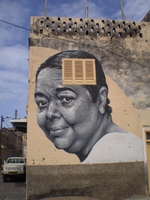 Cesária Évora mural, by Draw.
