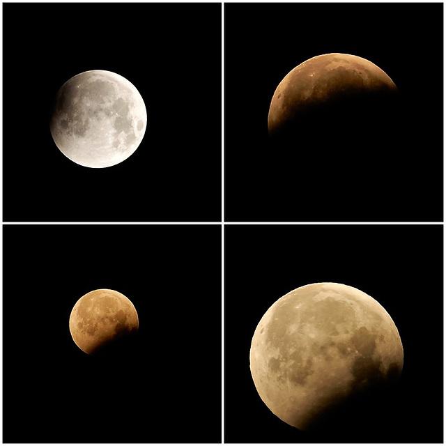 la lune du 21 Janvier de 3 h a 7 h du matin