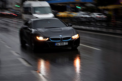 BMW in the rain