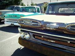 1963 (left) and 1961 Chevy trucks