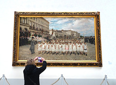 Taking a picture.