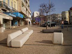 Stone couches.