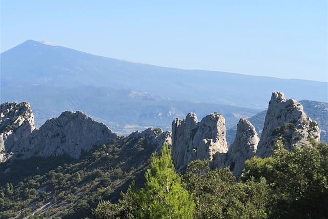 Devant le Mont Ventoux, les Dentelles de Montmirail, Vaucluse (France)