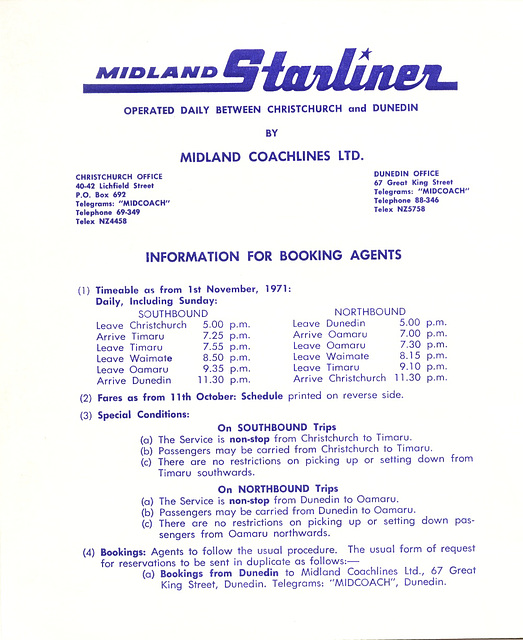 Midland 'Starliner' 1971 timetable (New Zealand) page 1
