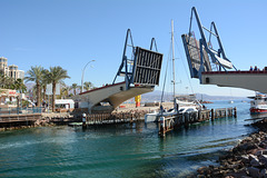 Israel, Eilat, Catamaran Passing through the Drawbridge