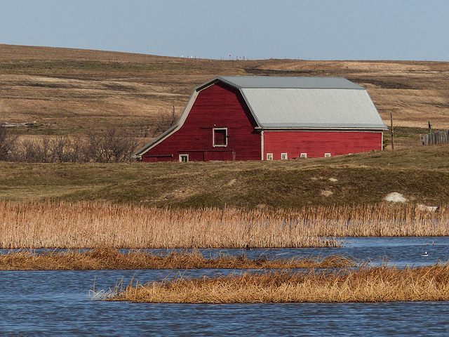 Red barn in a beautiful setting
