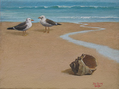 Sea-side scene w Seagulls/ Apudmara Pejzagxo k Mevoj=물새가 있는 바닷가 풍경_oil+coffe on canvas_31.8x40.9cm(6f)_2014_Song Ho