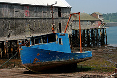 Beached Blue Boat (low tide, on the smokehouse ramp)