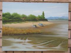 Seaside Scene of a Fishing Village/ Marborda Pejzagxo de Fisxado-vilagxo=바닷가 어촌 풍경_oil on canvas_38x45.5cm(8p)_2014_Song Ho