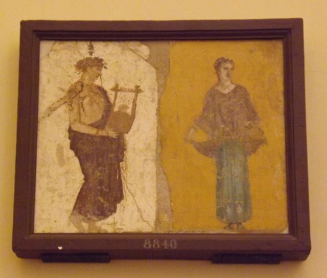Supplicants and Lyre Player Wall Painting in the Naples Archaeological Museum, June 2013