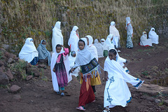 Ethiopia, Lalibela, Hurry up to the beginning of the Sunday Mass at Bete Medhane Alem Church
