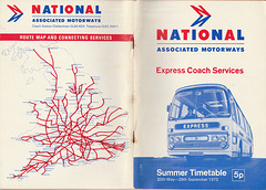 Associated Motorways (National Travel) Summer 73 timetable cover