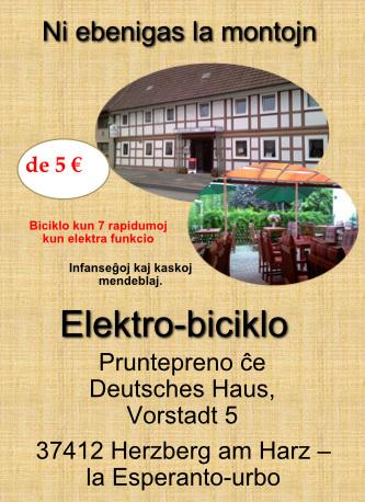 Lupreni elektran biciklon en la Espernto-urbo Herzberg am Harz, Germanio