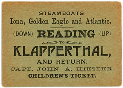 Steamboat Ticket, Reading, Pa., to Klapperthal Pavilion, July 4, 1896