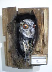 Curious owl, by Bordalo II.