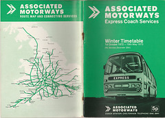 Associated Motorways Winter 1972-73 timetable  cover