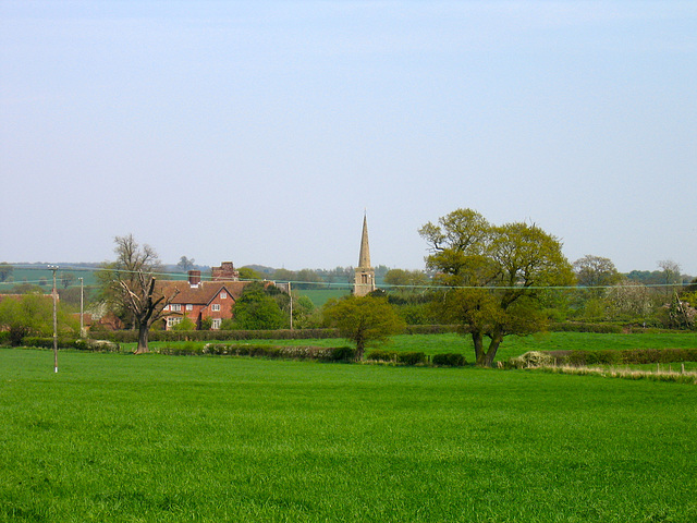 Looking towards the Church of St Michael and All Angels at Hamstall Ridware