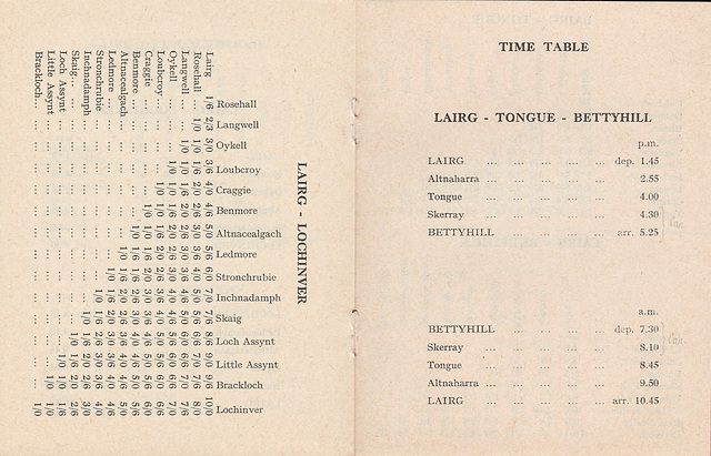 Sutherland Transport and Trading Company 1965/1966 timetable - Pages 6 and 7
