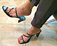 wife in banana republic heels and dangle