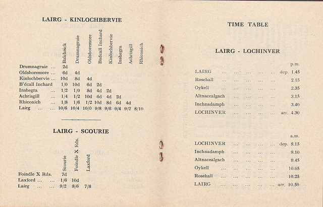 Sutherland Transport and Trading Company 1965/1966 timetable - Pages 4 and 5