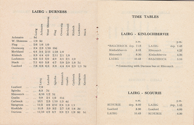 Sutherland Transport and Trading Company 1965/1966 timetable - Pages 2 and 3