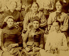 Cabinet Card Photo of Quilters, Northern Dauphin County, Pennsylvania, ca. 1880s (Cropped)