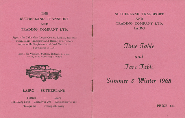 Sutherland Transport and Trading Company 1965-1966 timetable - Cover