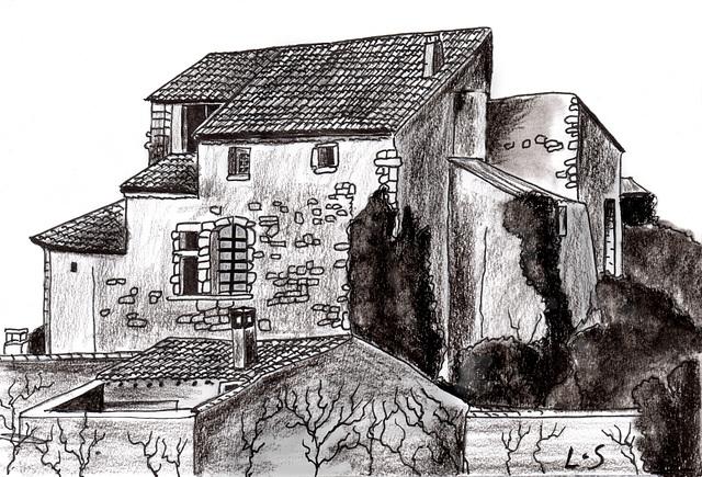 Vue du Château de Lagnes (Fusain)