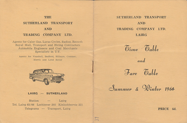Sutherland Transport and Trading Company 1961-1964 timetable - Cover