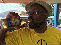 Greg drinking Carib 1